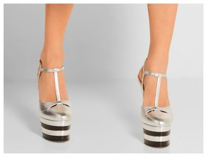 Silver platform high-heeled pumps
