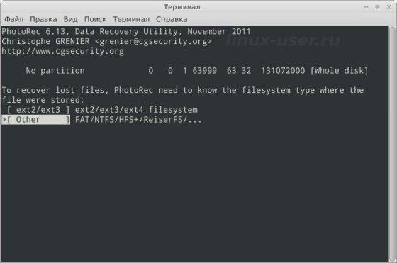 Выбираем тип файловой системы для восстановления файлов в Linux