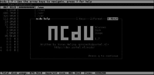 Ncdu - анализ жесткого диска