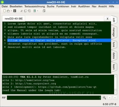tea -tекстовый редактор linux