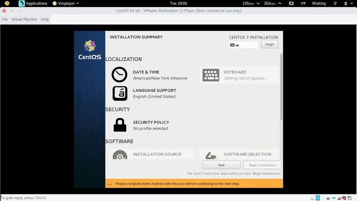 install centos select date & keyboard