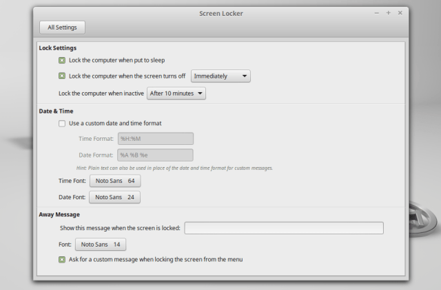 linux mint 17.1 screensaver settings