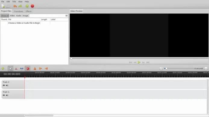openshot video editor home screen