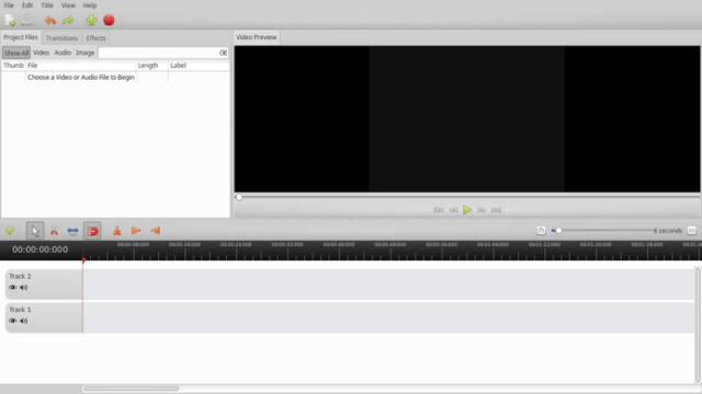 openshot video editor home screen