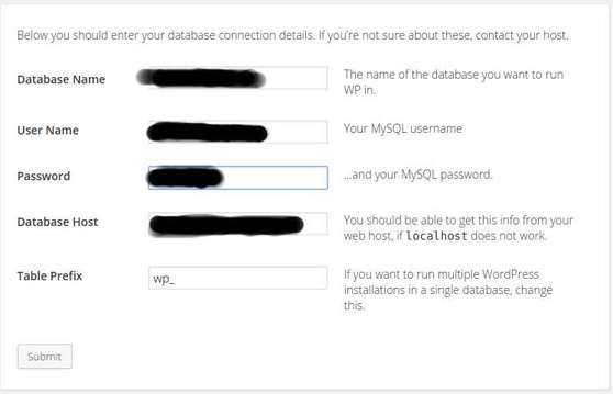 wordpress mysql database info