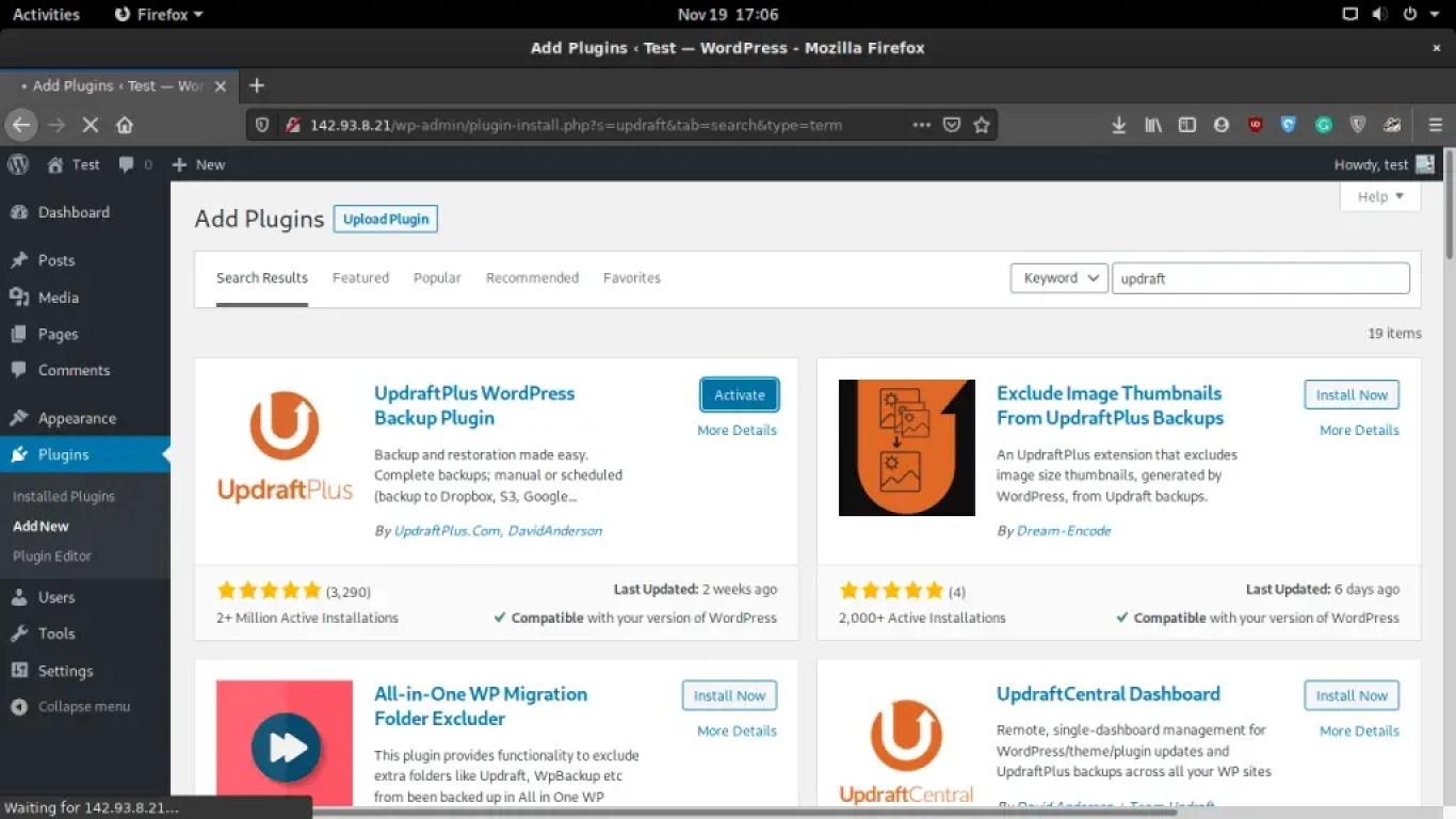 Install UpdraftPlus in WordPress