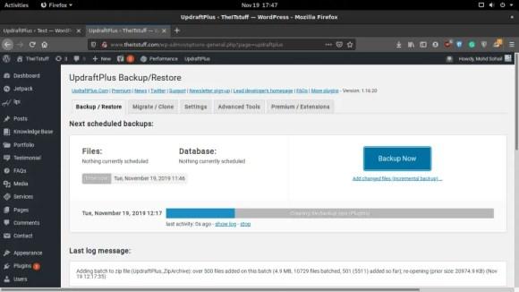 Updraft backing up WordPress