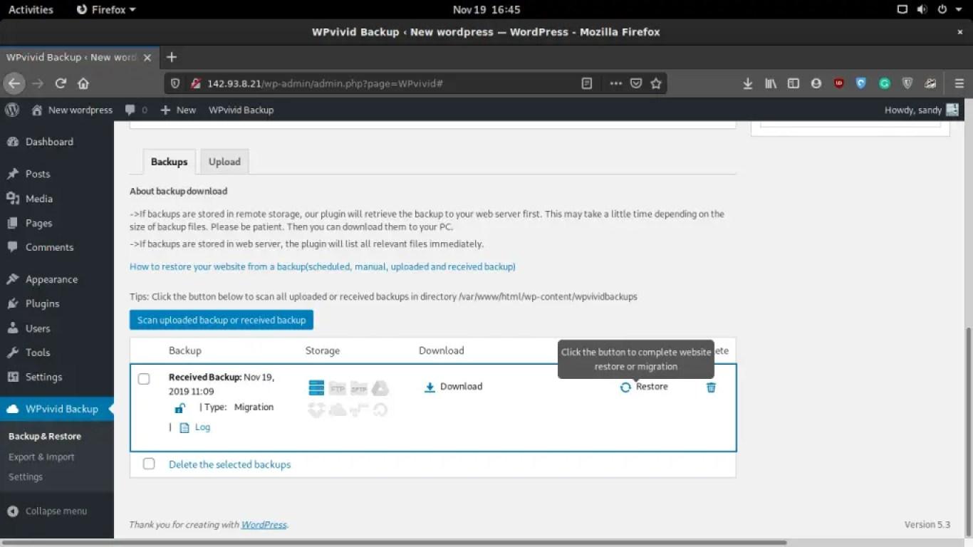 WPvivid restore backup