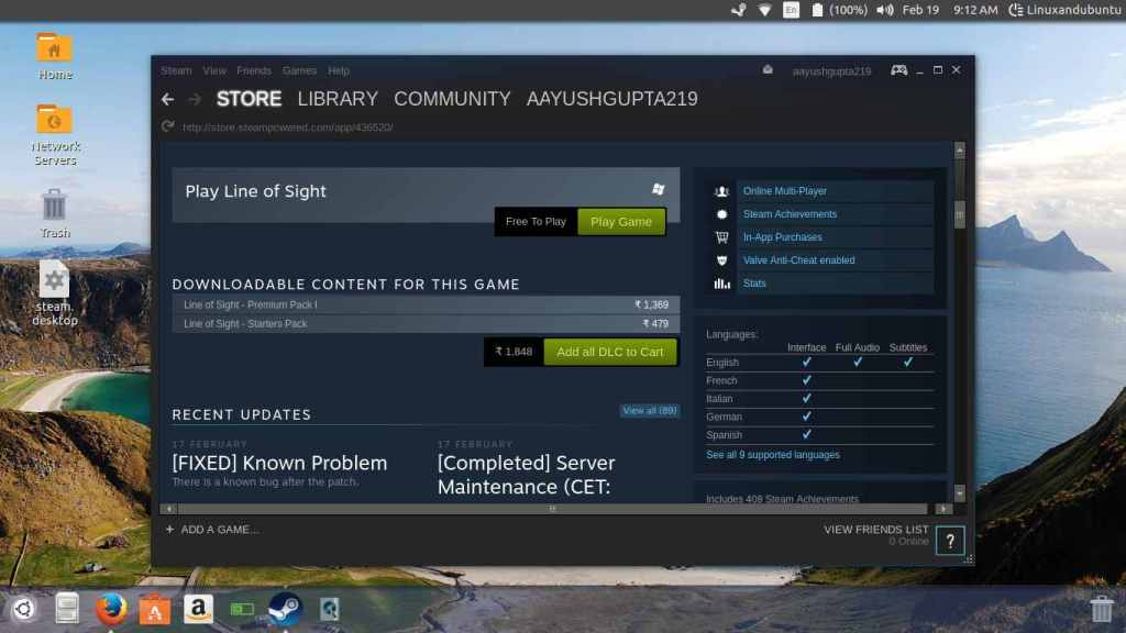 install game on steam linux