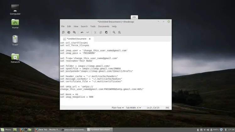 edit muttrc configuration file