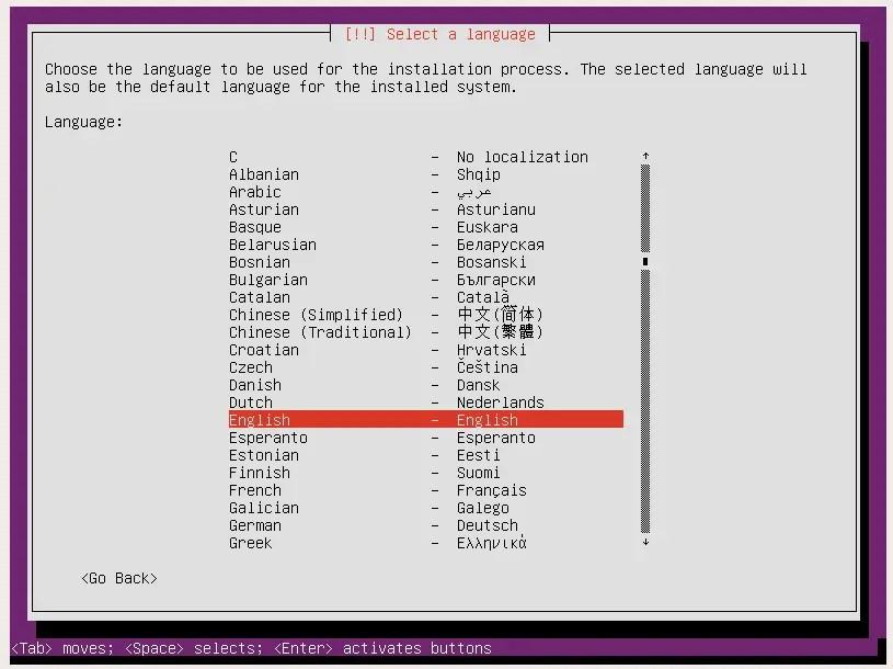 ubuntu server setup select language