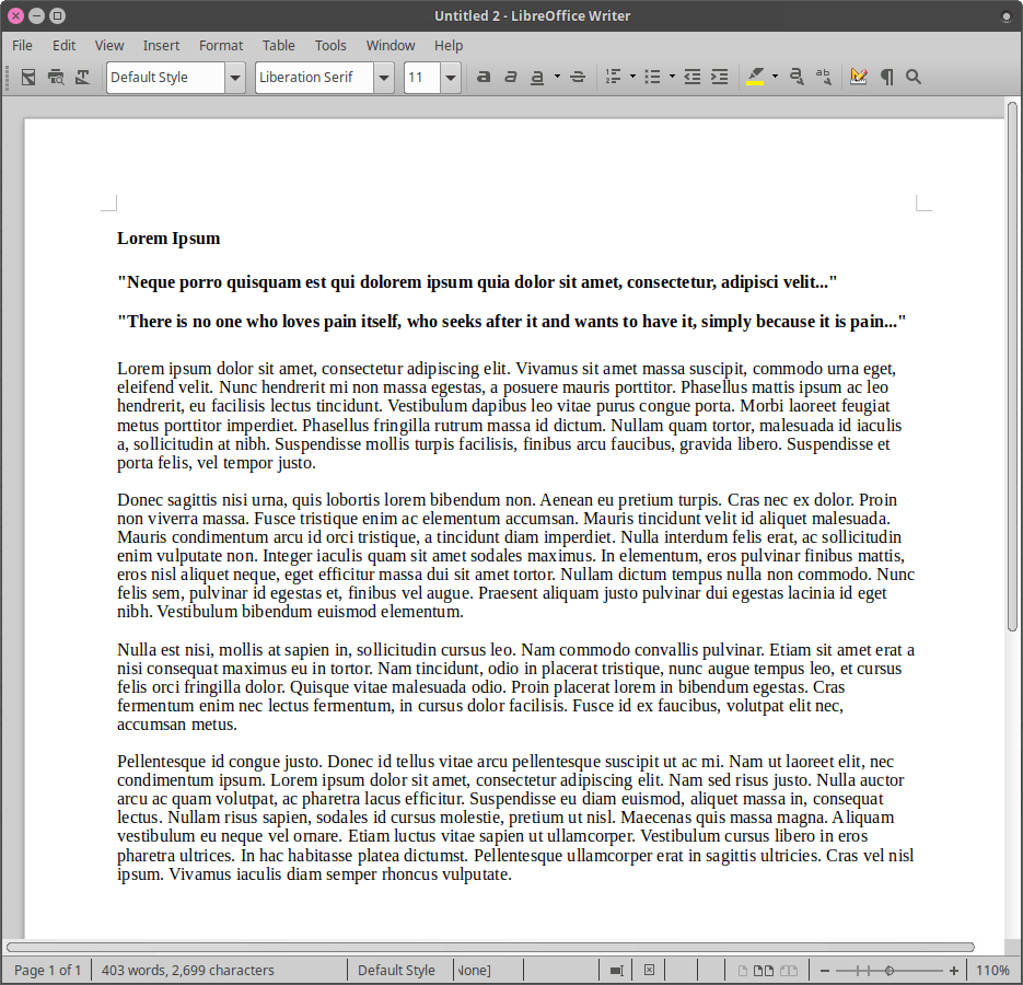 Liberation Serif, single-spaced, in LibreOffice 6