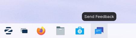 أيقونة إرسال الملاحظات في Zorin OS 16 Beta