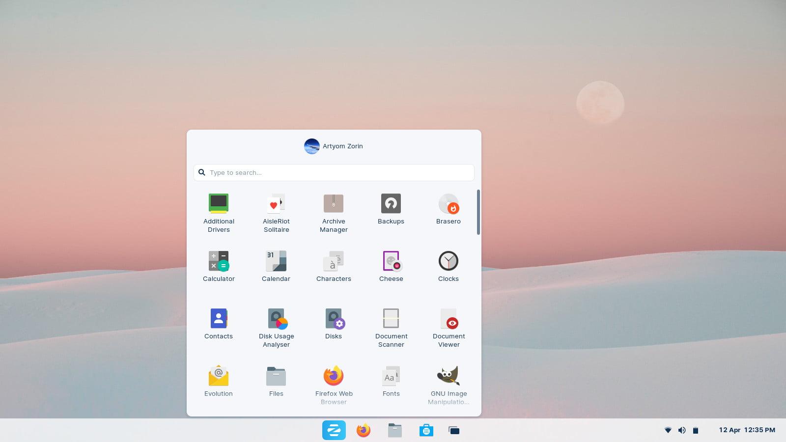 سمة Windows 10X في Zorin OS 16 Ultimate