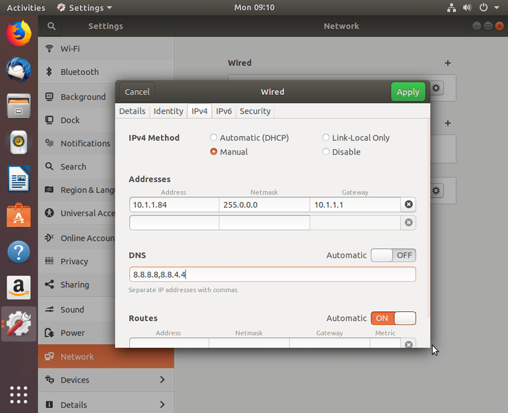 network manager - set static ip - ubuntu 18.04 bionic - static ip - set static IP