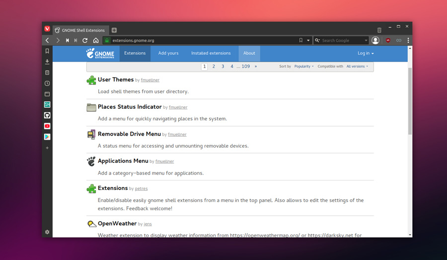 Gnome Extensions website to install extensions from