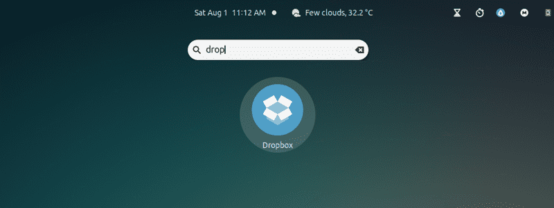 Searching dropbox in the application menu