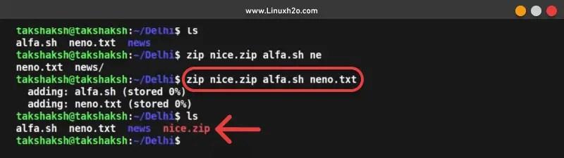 zip command usage