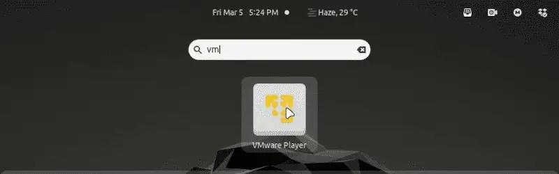 Starting vmware player