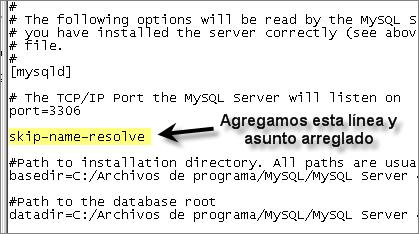 Solución con skip-name-resolve