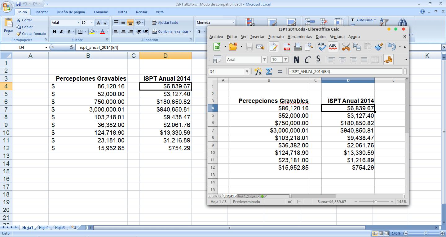ISPT 2014 en Excel y Libreoffice