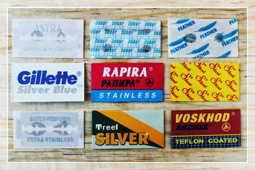 Paquete de muestras de hojas de afeitar.