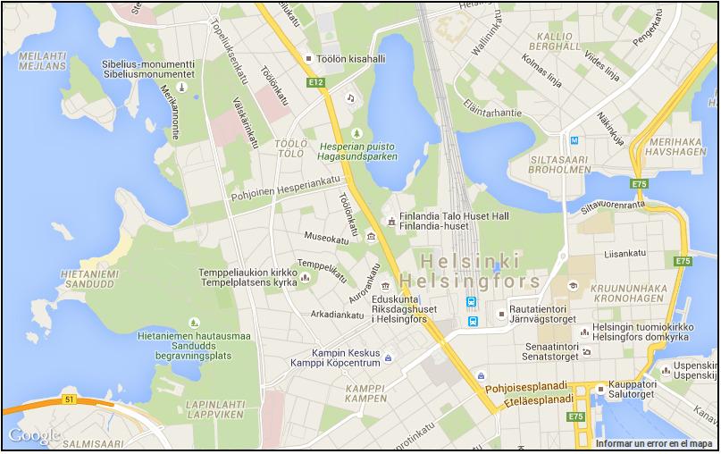 Mapa de Helsinki en google maps
