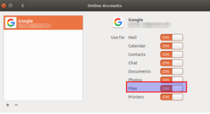 Files in Gnome Online Accounts - Google Drive
