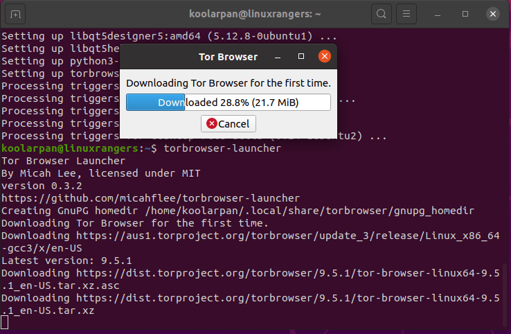 Downloading Tor Browser on 20.04