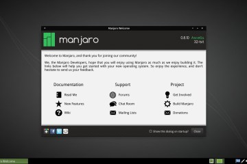 Manjaro 0.10 XFCE : welcome screen