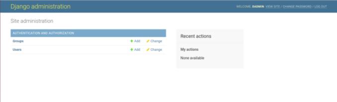 Django Admin webpage