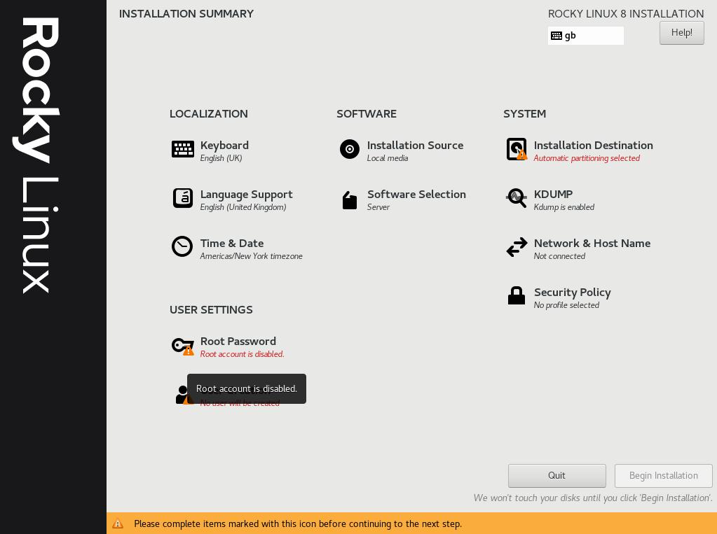 Rocky Linux Summary screen