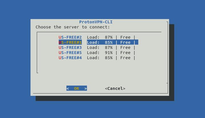 Выбор сервера подключения в выбранной стране в конфигураторе protonvpn