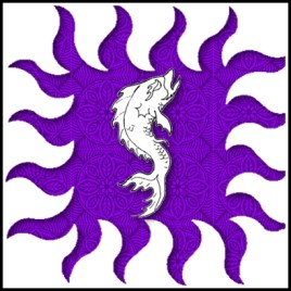 Purpure, a dolphin haurient contourny within a bordure rayonny argent.