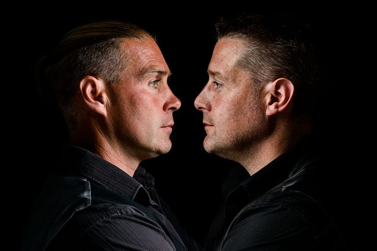 a composite image of brothers face to face
