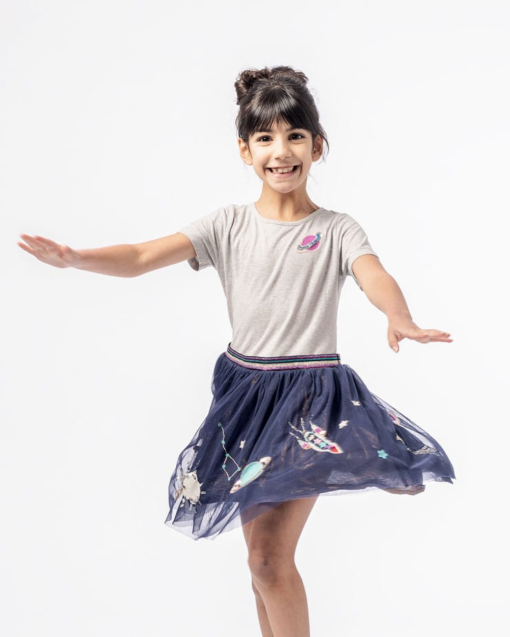 child portrait in spinning pose