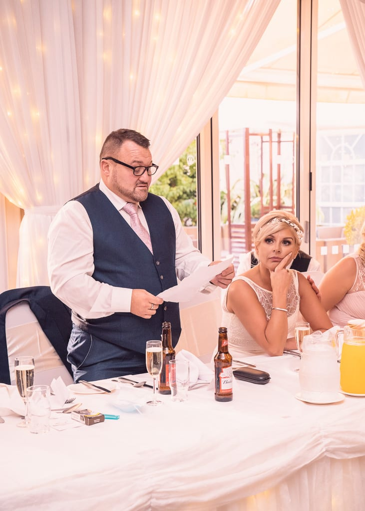the groom makes his speech at the millbrook lodge hotel wedding venue