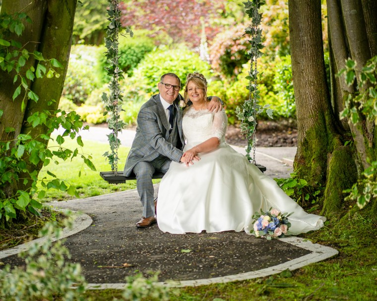 bride and groom portrait at ross park hotel
