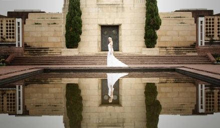bride in dress reflection