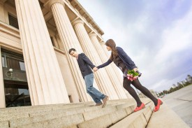 engagement shoot at the auckland domain museum
