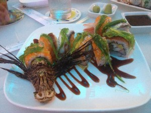 Scary Dragon Roll - Lionfish Sushi at E Sushi Shap in Aruba