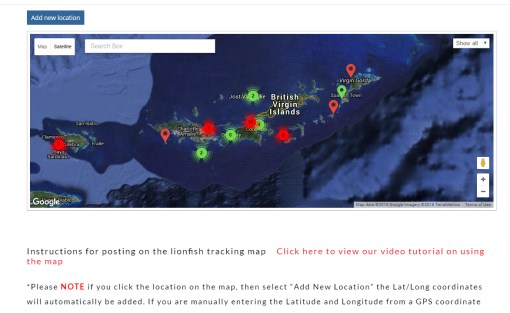Screenshot of new lionfish tracking map available at Lionfish.info