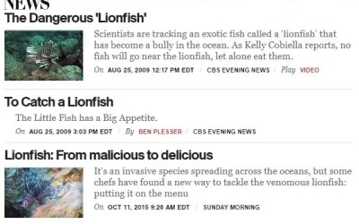 CBS Lionfish News Articles