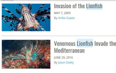 Smithsonian Magazine Lionfish News Articles