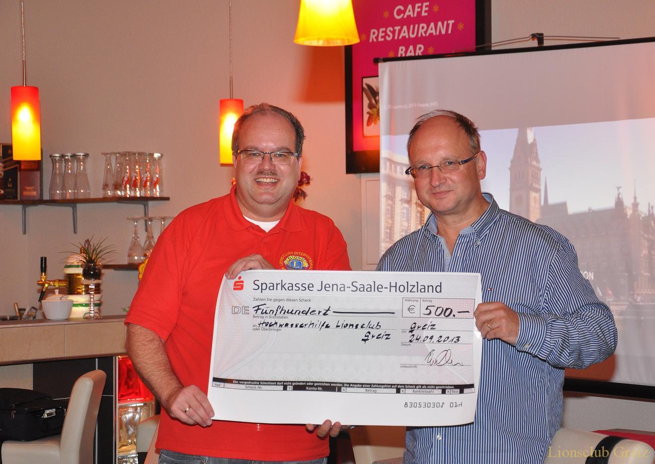 Eisenberger Lionsclub sammelte für Greizer Flutopfer