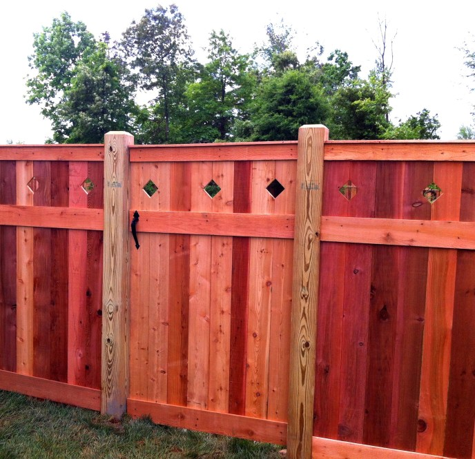Cedar gate with diamond cut outs