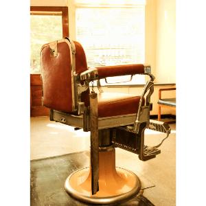 Cadeira de Barbeiro com Estofado em Vermelho