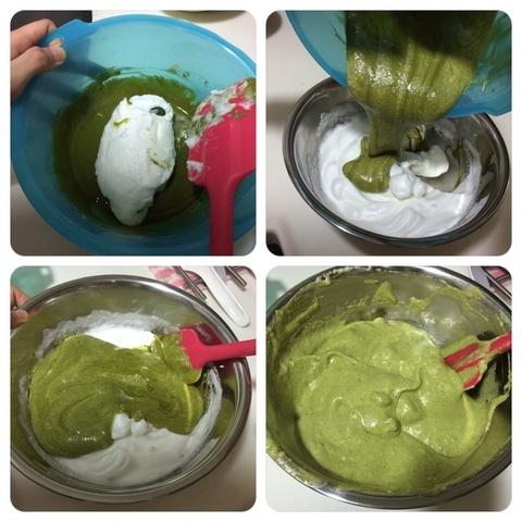 蛋白霜與蛋黃糊混合