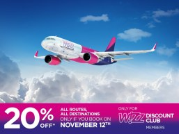 Ofertă pentru Wizz Discount Club – 20% reducere