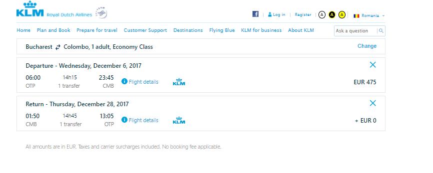 promoție-KLM-Colombo